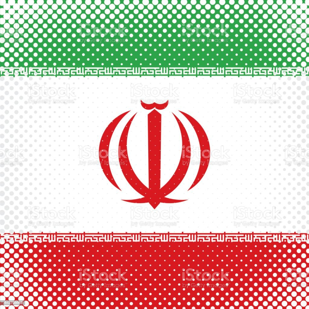 Half Tone Flag - Iran vector art illustration