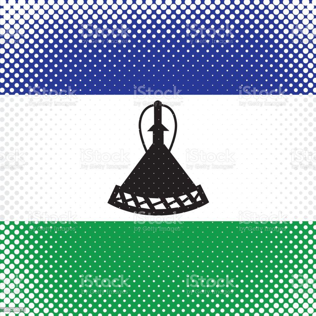 Half Tone Flag - Lesotho vector art illustration