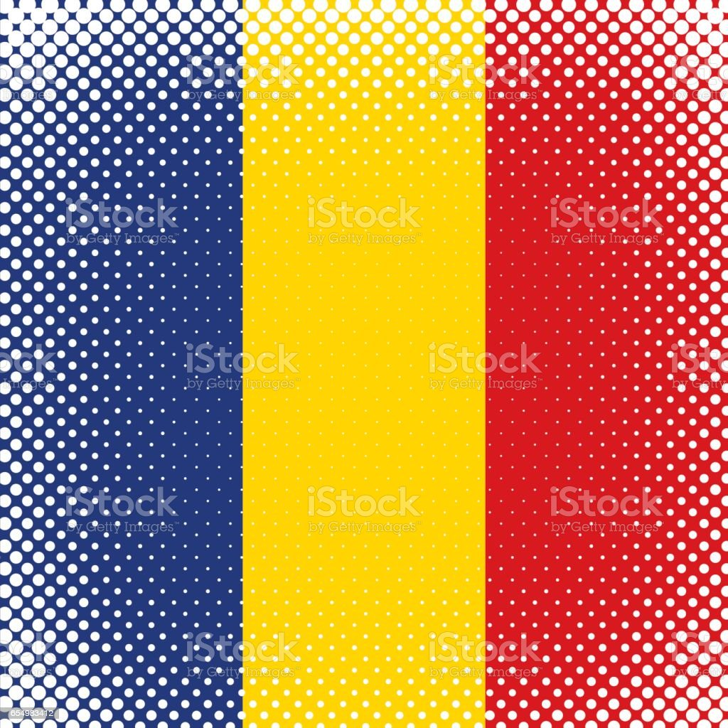 Half Tone Flag - Romania vector art illustration