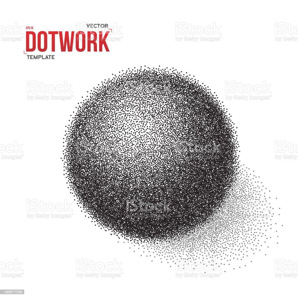 Halftone 3D Ball template. Dotwork Tattoo Style 3D Ball Vector vector art illustration