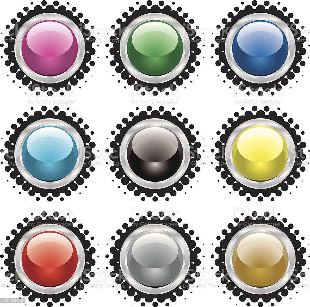 halftone bevel button royalty-free stock vector art