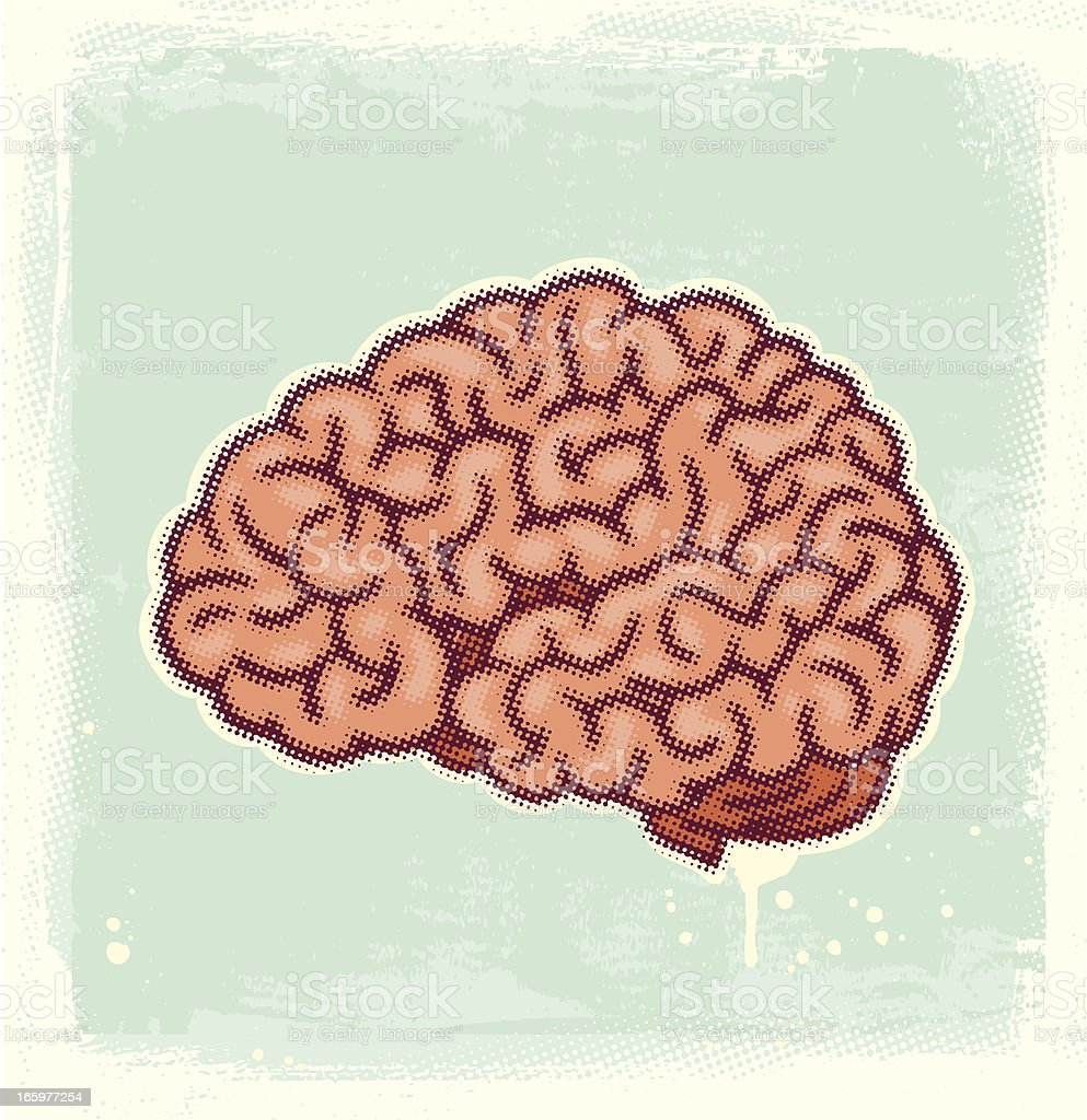 Halftone Brain vector art illustration