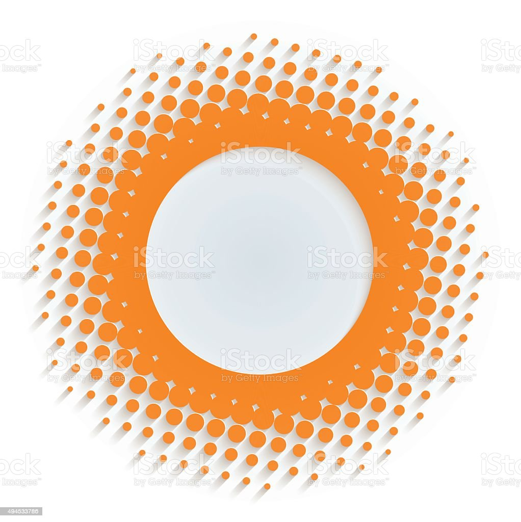Halftone circle frame vector art illustration