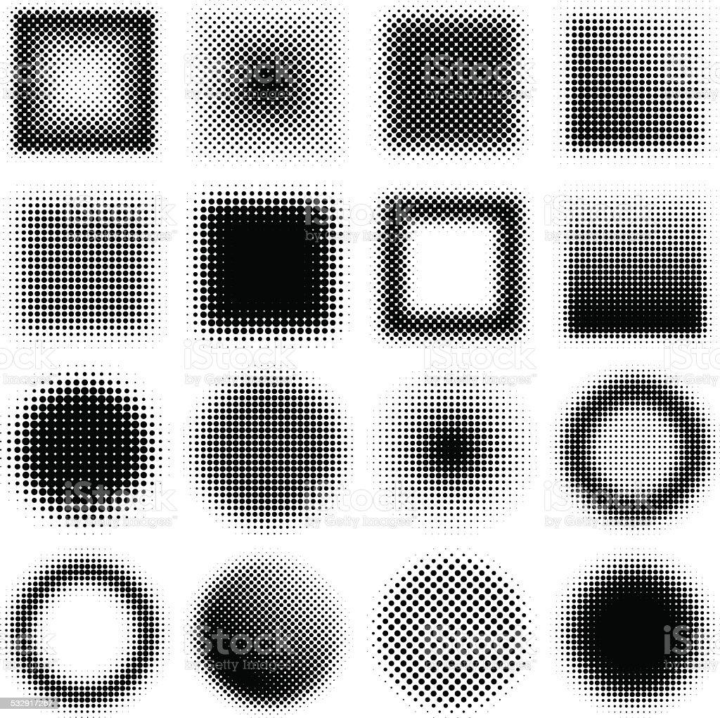 Halftone design elements vector art illustration