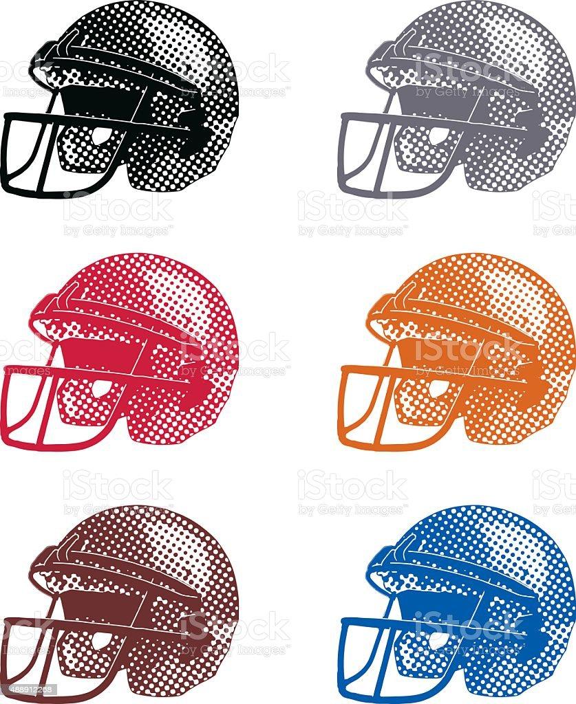 Halftone Dot Football Helmets, Colorful Set vector art illustration
