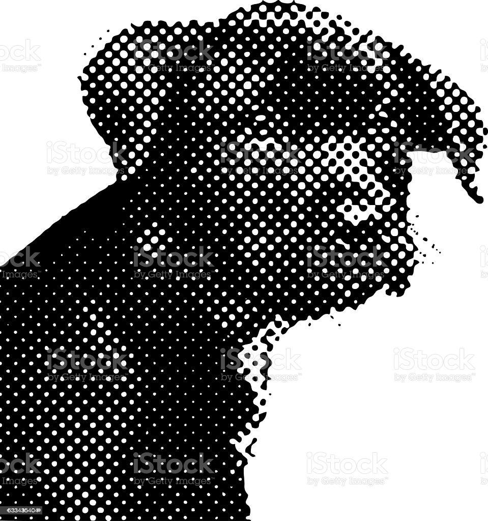 Halftone dot pattern portrait of a cute black puppy vector art illustration