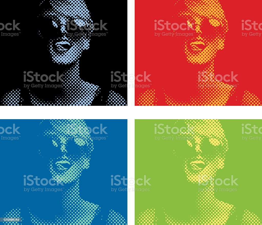 Halftone Dot Pattern Portrait of a Vibrant, happy woman vector art illustration