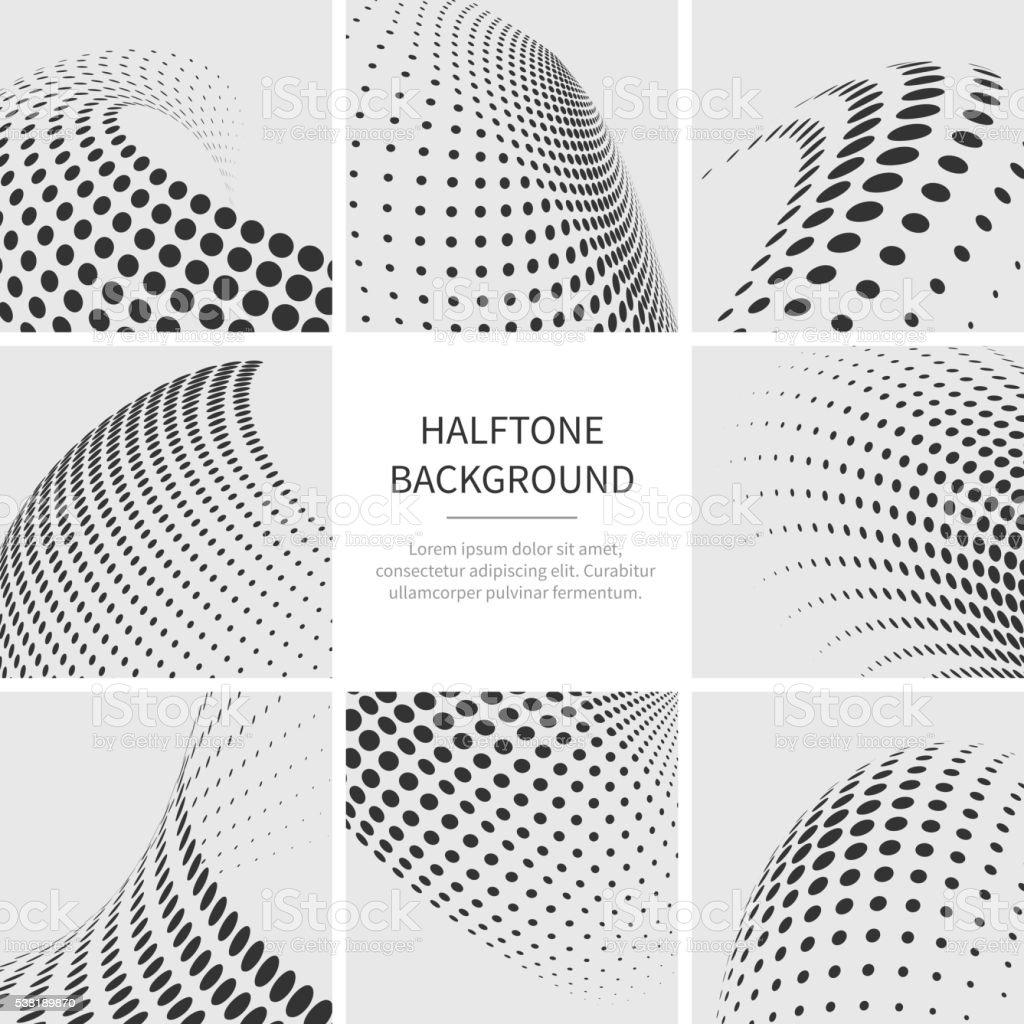 Halftone dots abstract vector shapes set vector art illustration