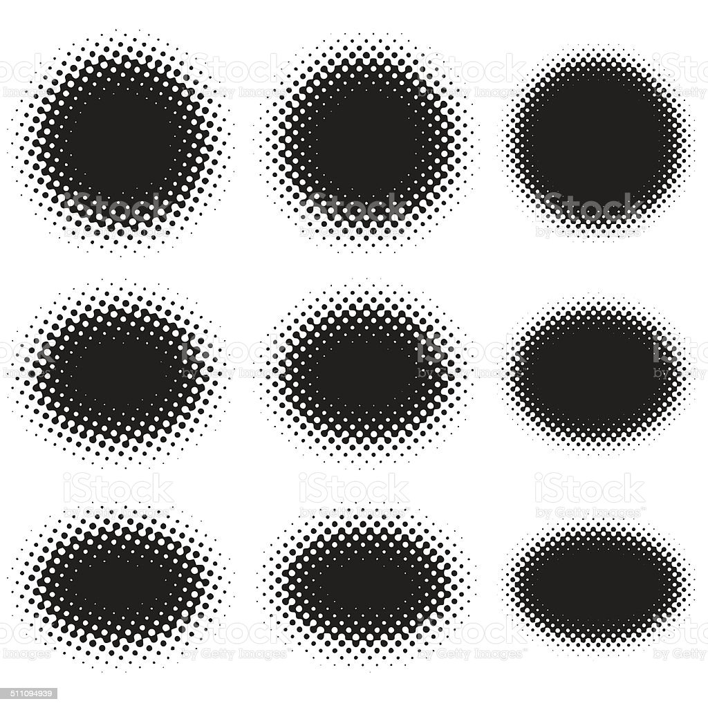 Halftone Ellipse Shape Set On White vector art illustration