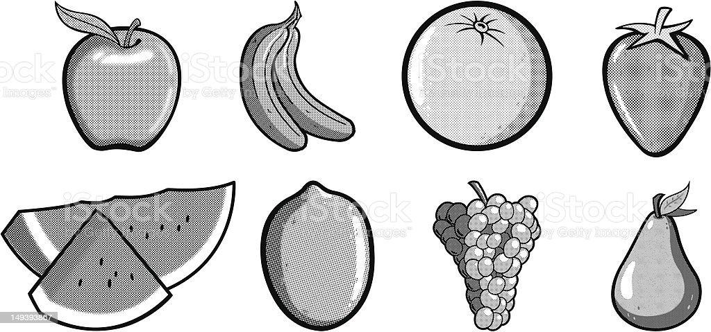Halftone Fruit Illustrations royalty-free stock vector art