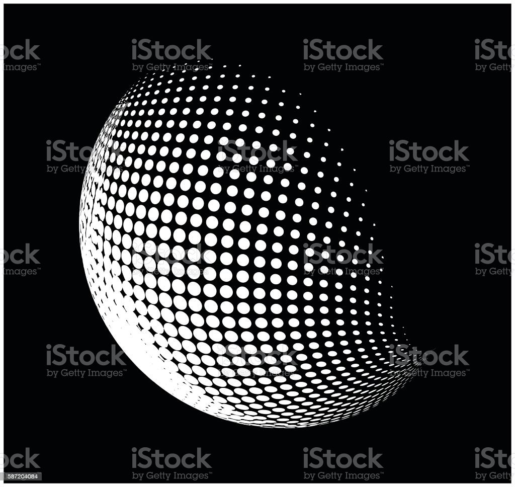 halftone globe, sphere vector logo symbol, icon, design. vector art illustration