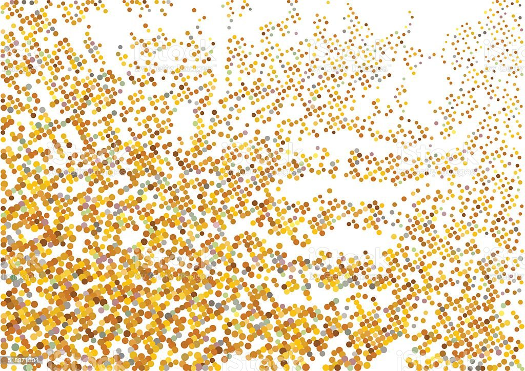 Halftone gold pattern. Abstract round dots background vector art illustration