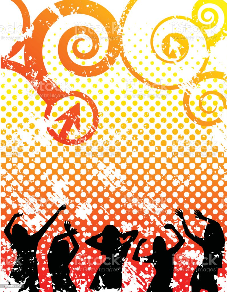 Halftone grunge party vector art illustration