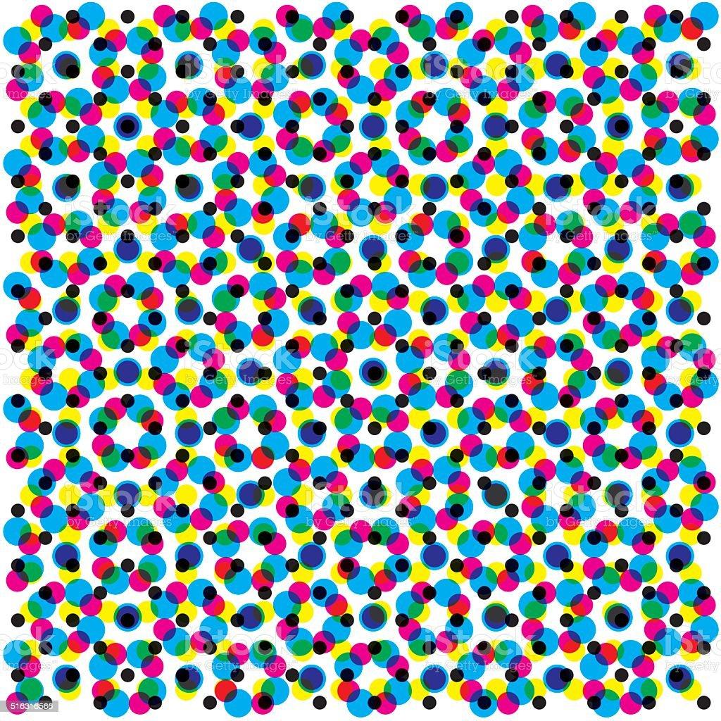 CMYK halftone pattern filling a gray background vector art illustration