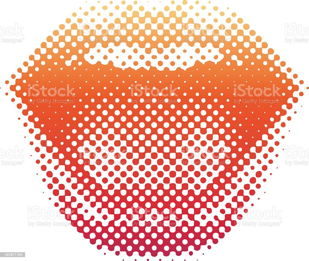 Halftone Pattern Lips Laughing and Smiling vector art illustration