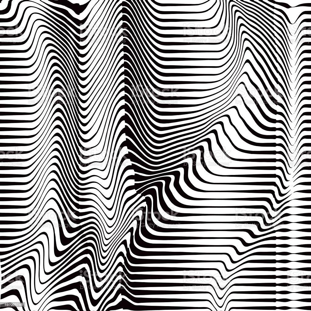 Halftone Pattern of Rippled, Wavy, Striped Lines vector art illustration
