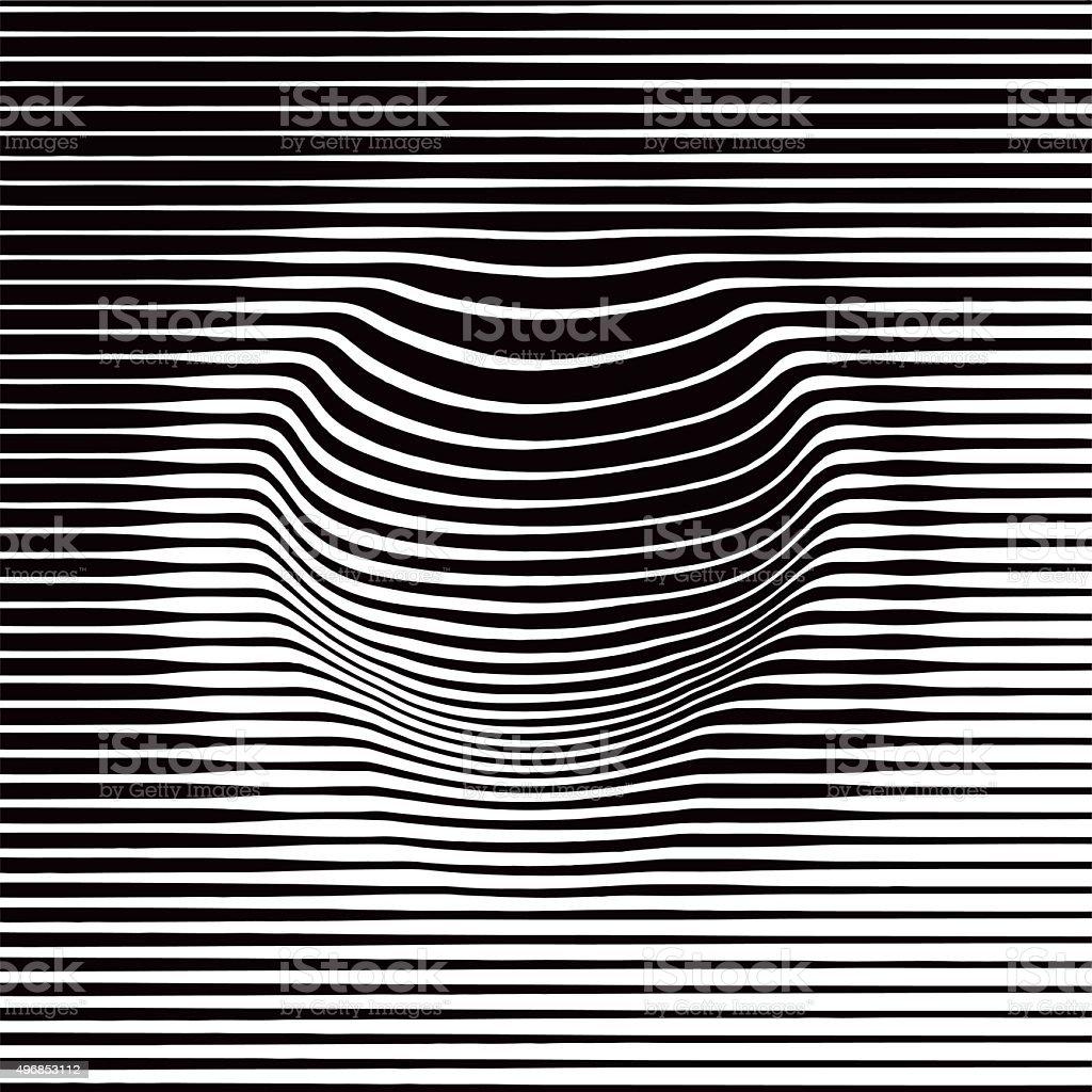Halftone Pattern Of Striped Concave Shape vector art illustration