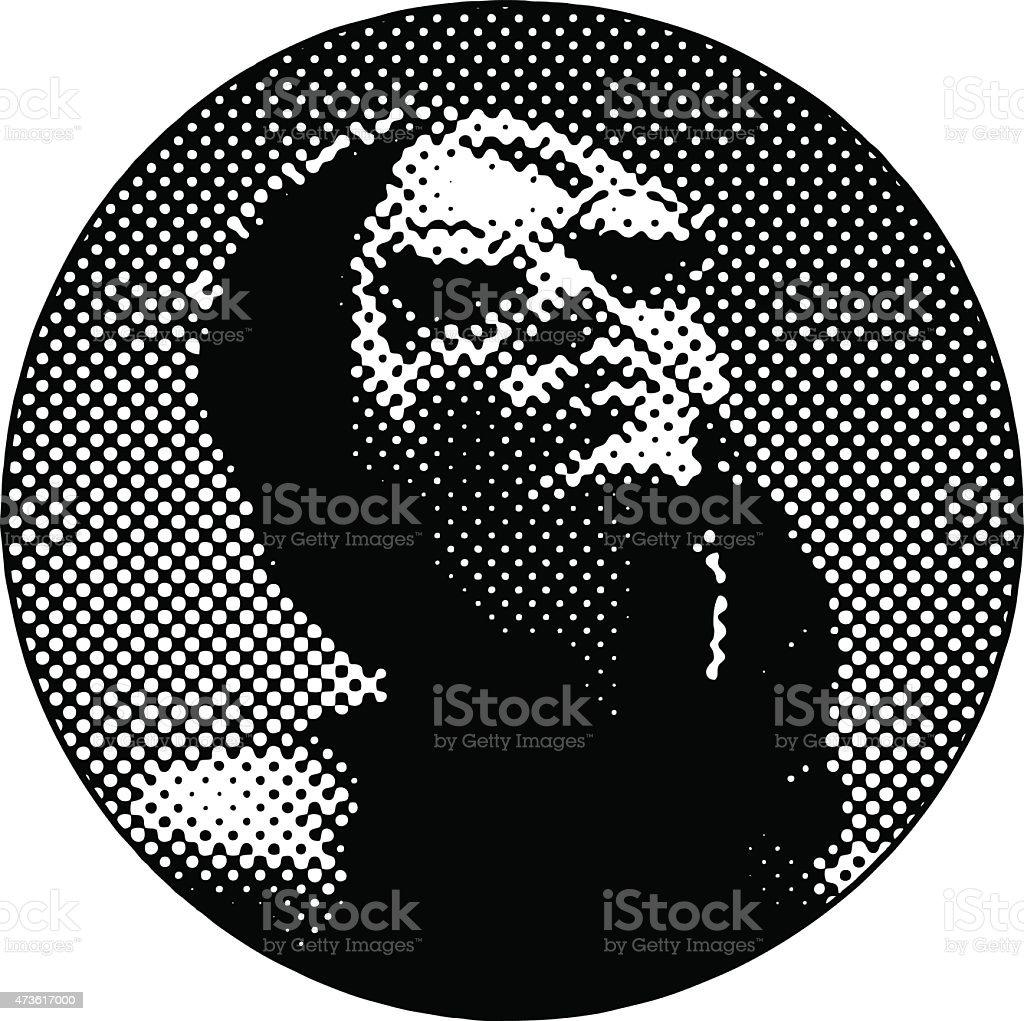 Halftone Pattern Portrait of a French Diva vector art illustration