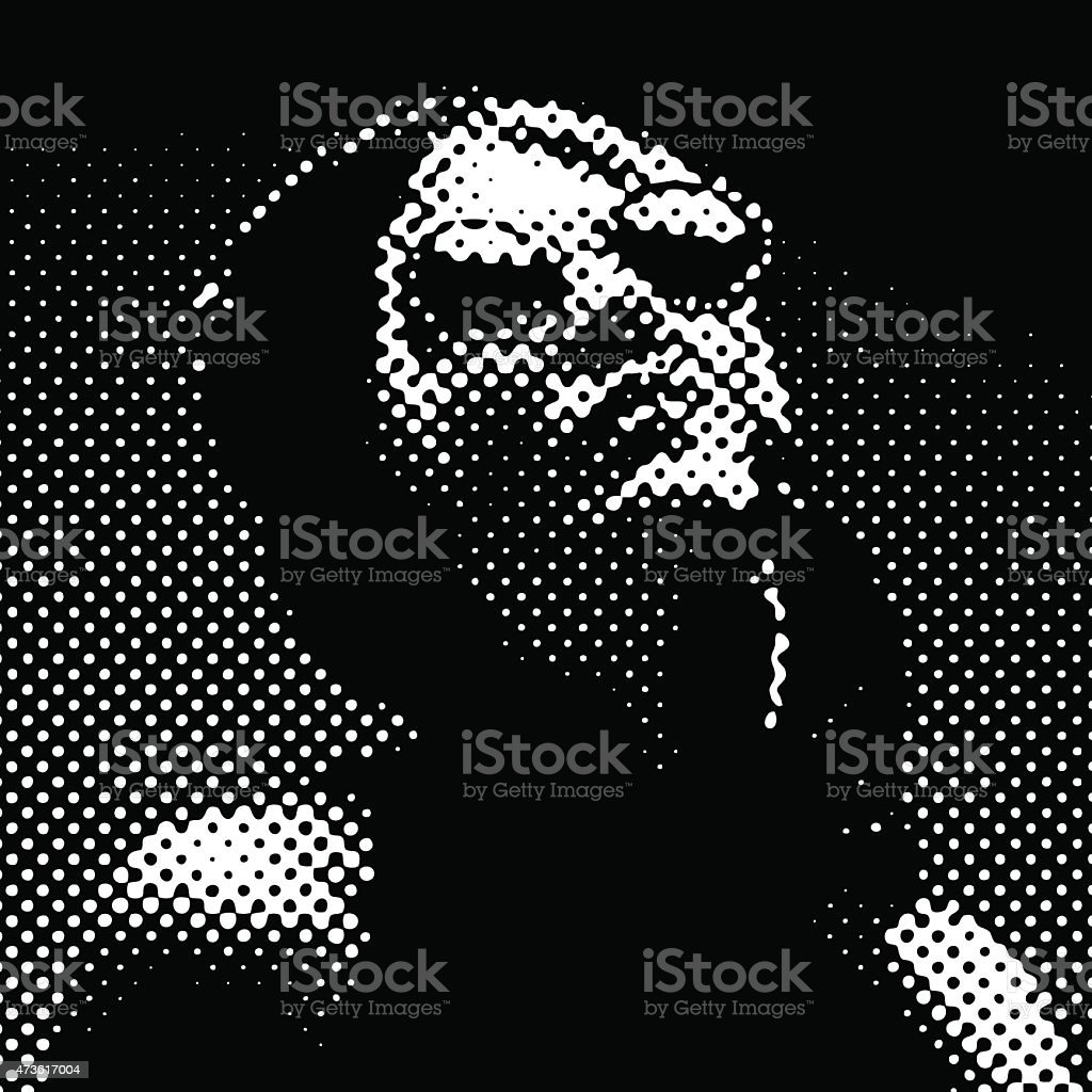 Halftone Pattern. Portrait of a French Diva vector art illustration