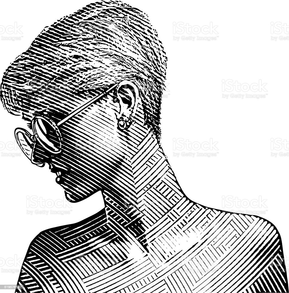 Halftone Pattern portrait of a young woman wearing sunglasses vector art illustration