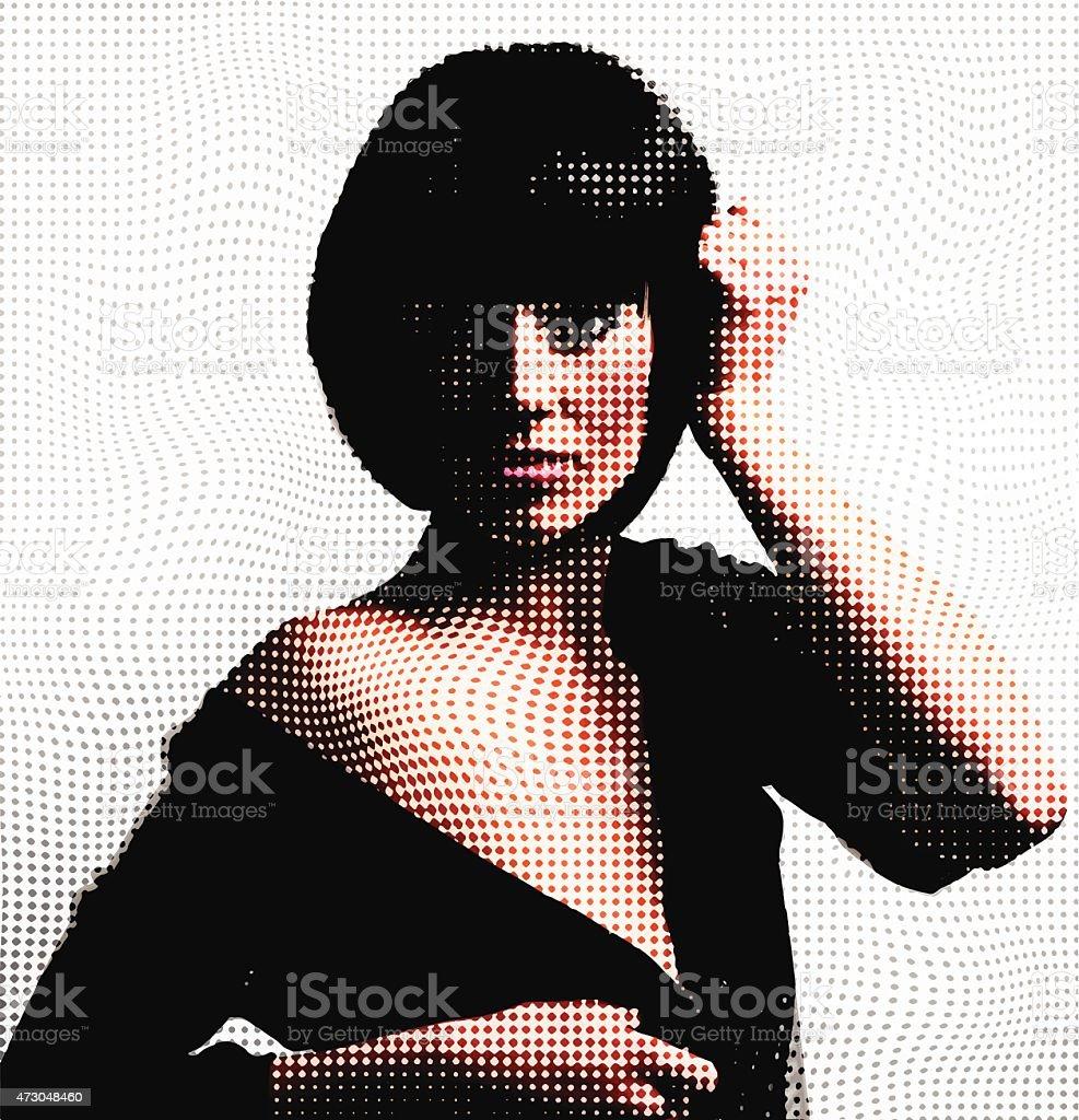 Halftone Pattern Portrait Of Beautiful Woman vector art illustration