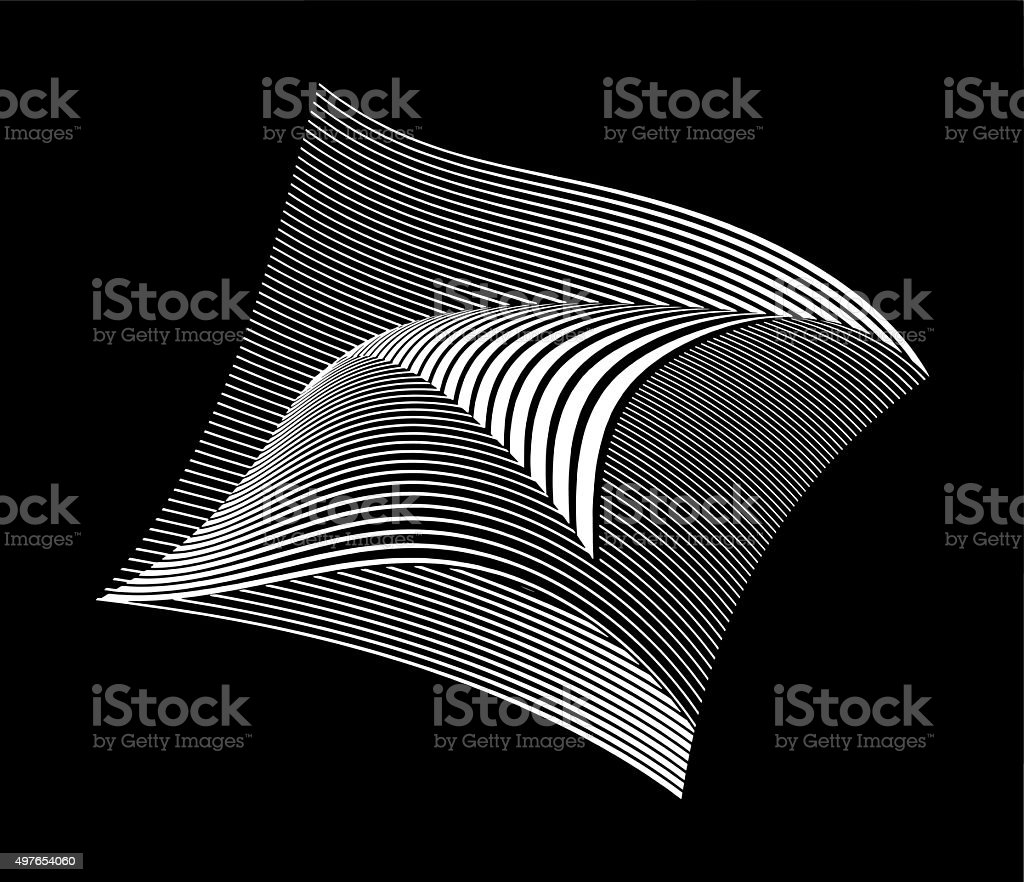 Halftone Pattern Wavy Grid with Gradient and Black Background vector art illustration