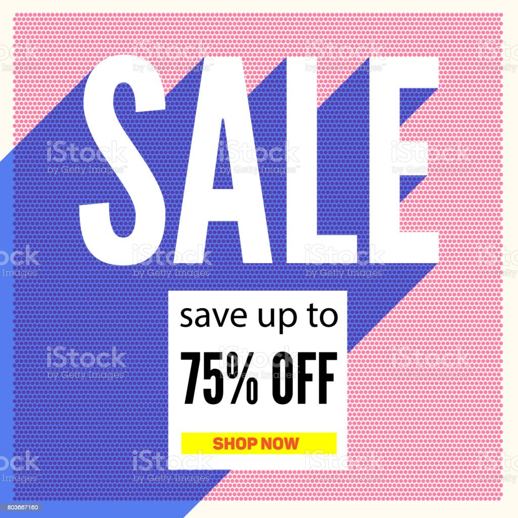 1 color poster design - Halftone Sale Poster On Backdrop From Color Dots With Long Shadow Save Up To Seventy