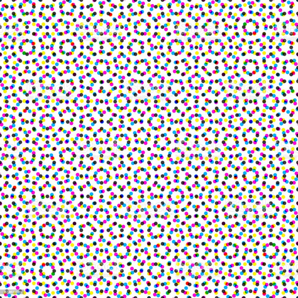 CMYK halftone seamless pattern vector art illustration
