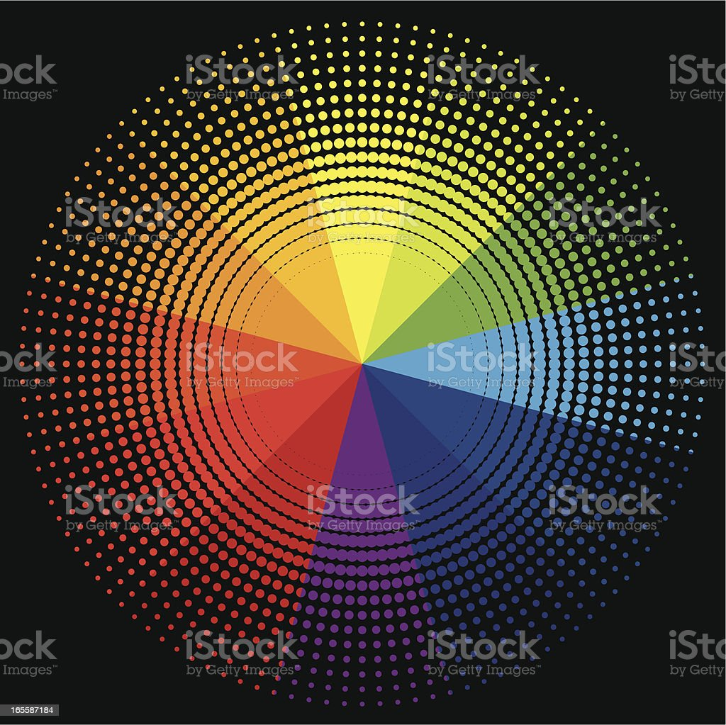 Halftone Style Colour Wheel vector art illustration