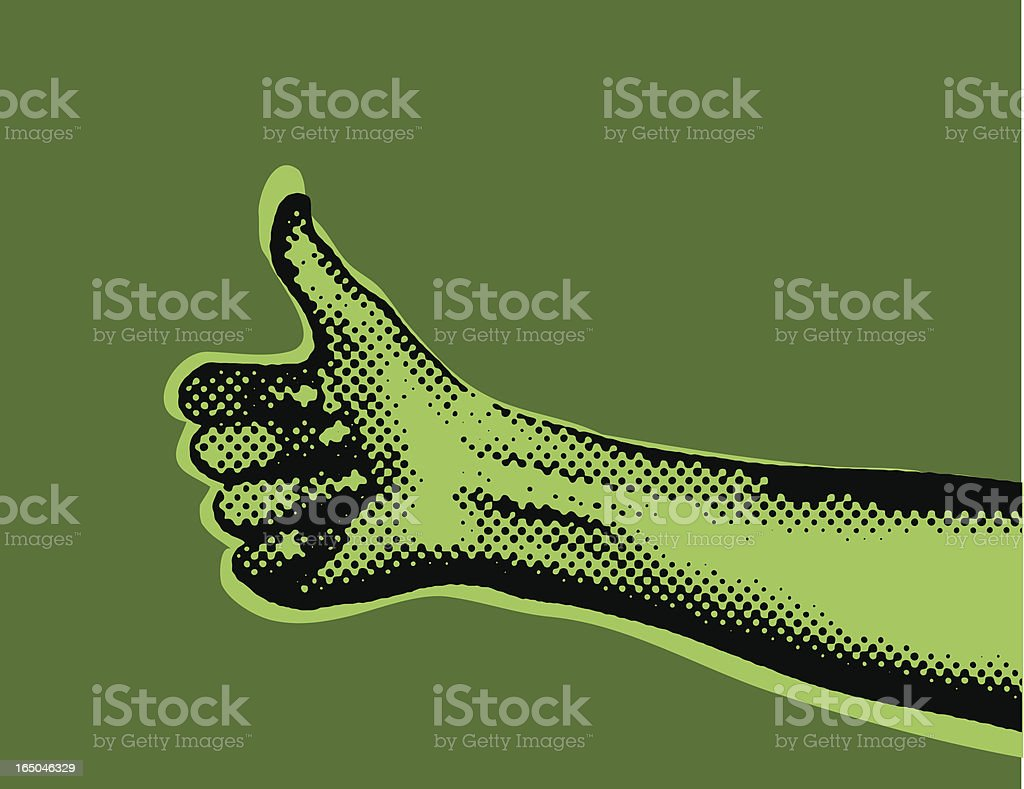 Halftone Thumbs Up vector art illustration