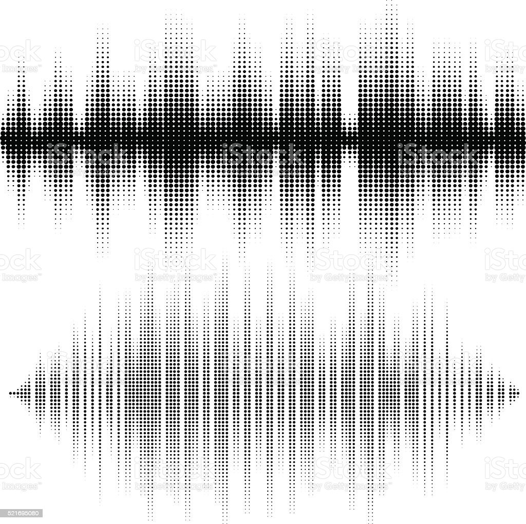 Halftone vector elements. Vector sound waves. Music waveform background vector art illustration