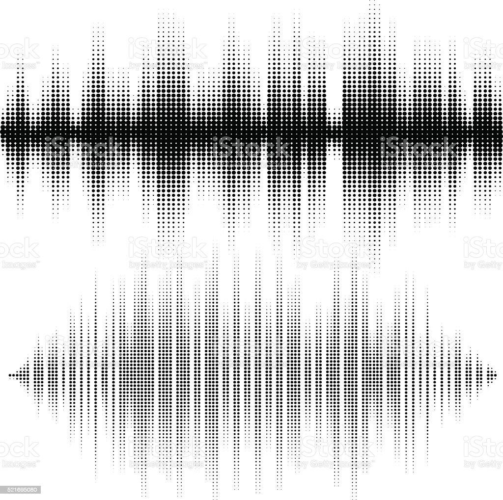 Halftone vector elements. Vector sound waves. Music waveform background vector art illustration