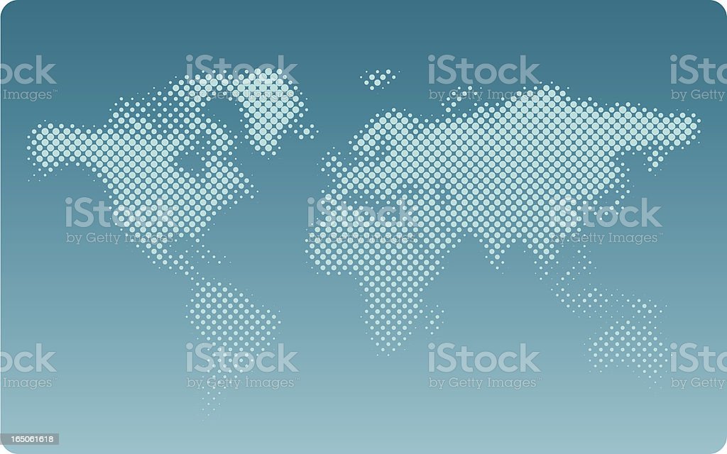 Halftone world map background royalty-free stock vector art