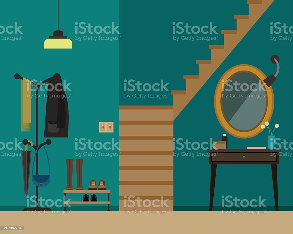 Hall interior with furniture. vector art illustration