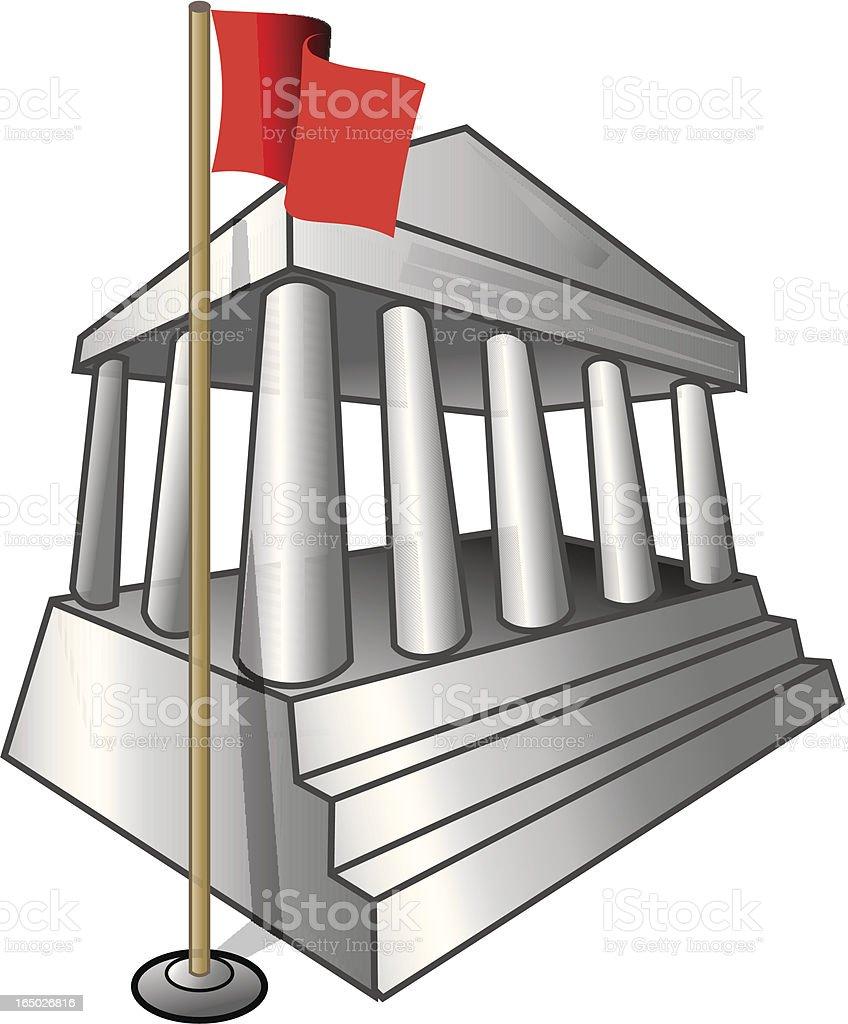 Palacio de Justicia con bandera de derecho y de la delincuencia - ilustración de arte vectorial