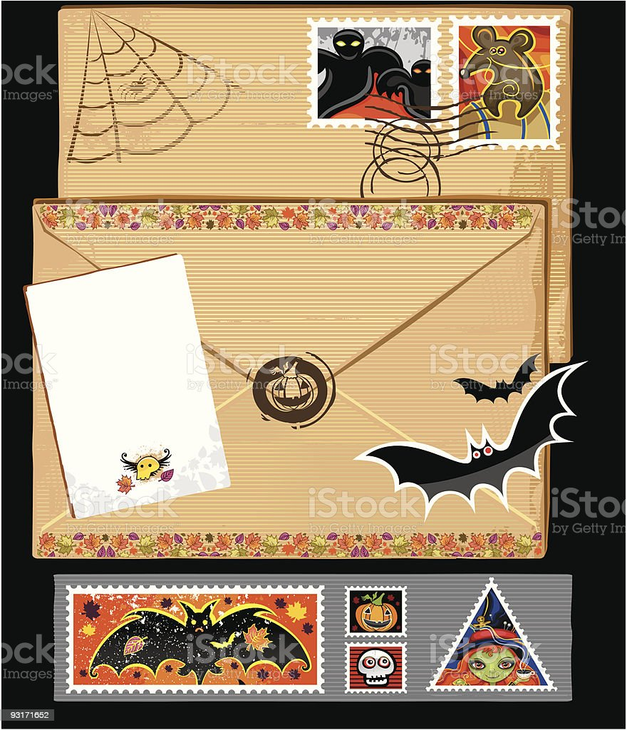 Hallooween stamps and envelope royalty-free stock vector art