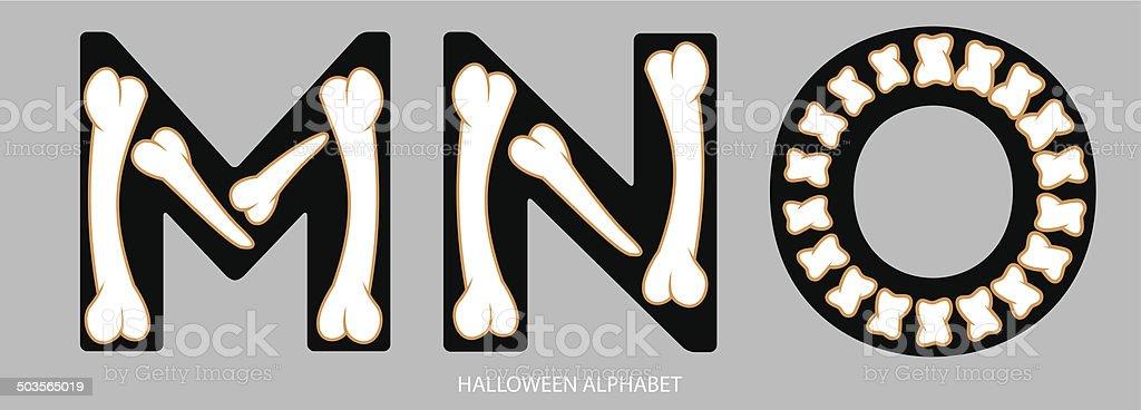 Halloween alphabet letters MNO1 vector art illustration