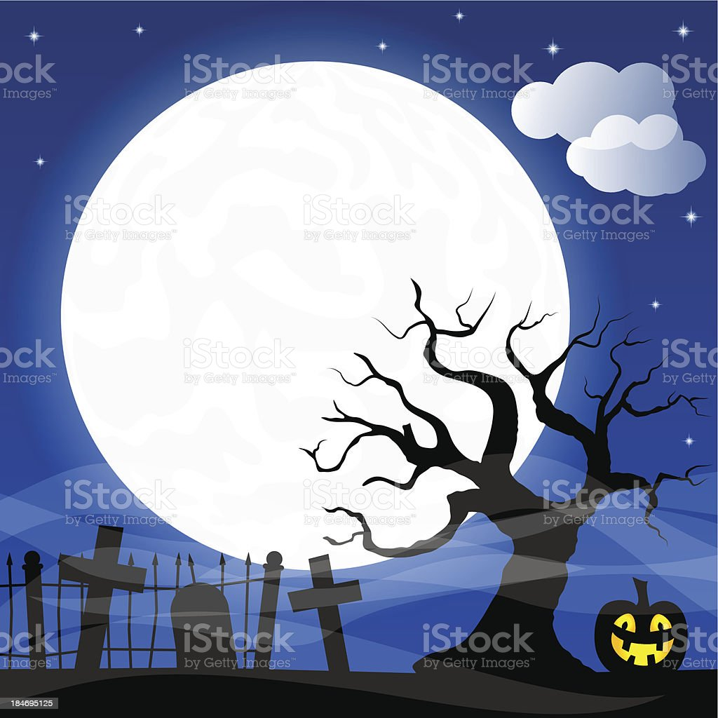 halloween and full moon background royalty-free stock vector art