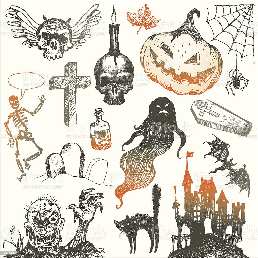 Halloween and horror hand drawn set vector art illustration