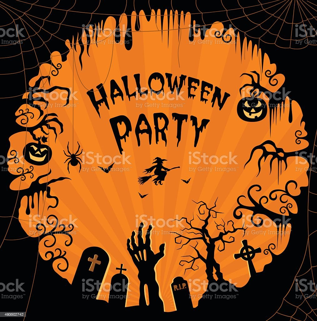 Halloween Background Frame vector art illustration
