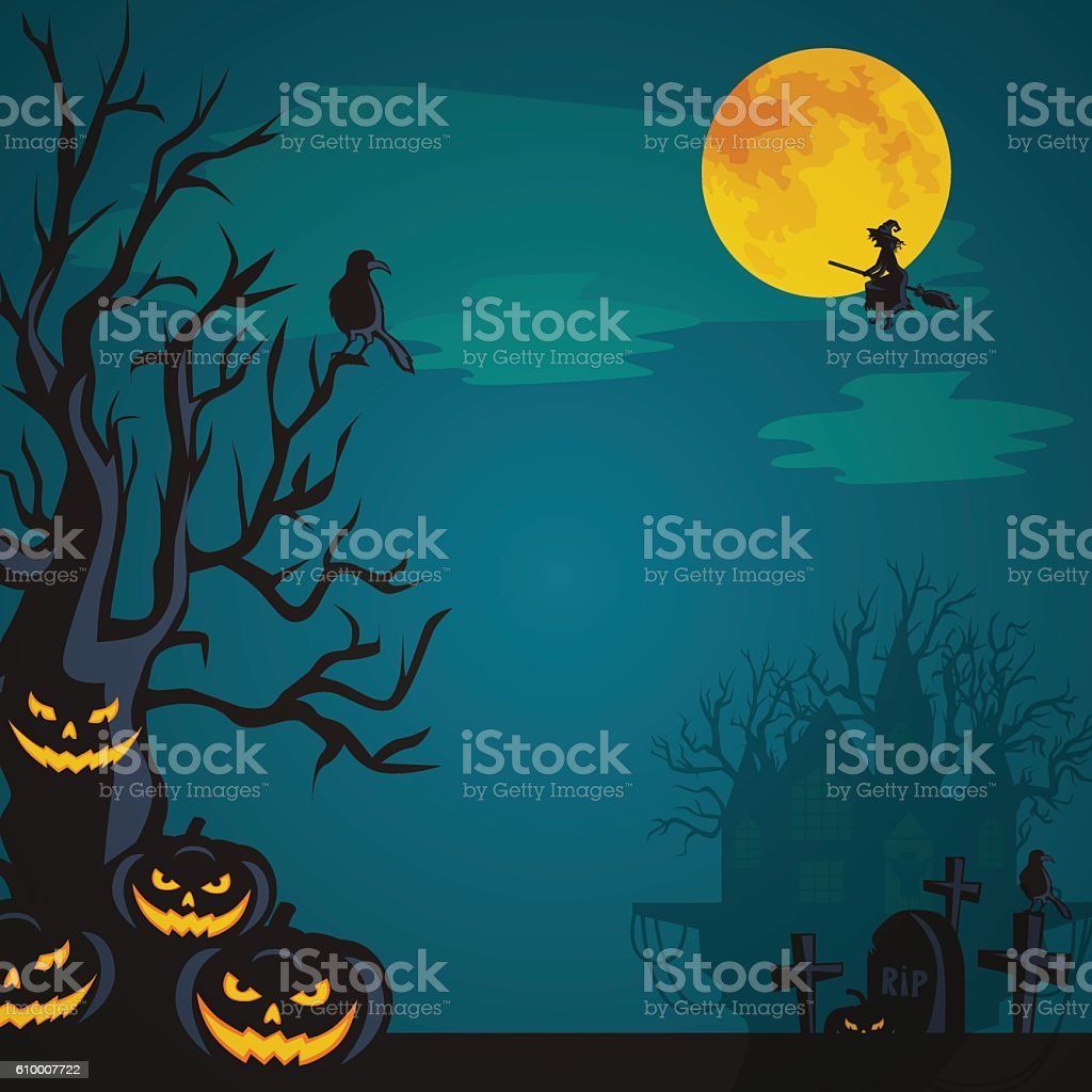 Halloween design - Forest pumpkins on cemetery. Horror background...