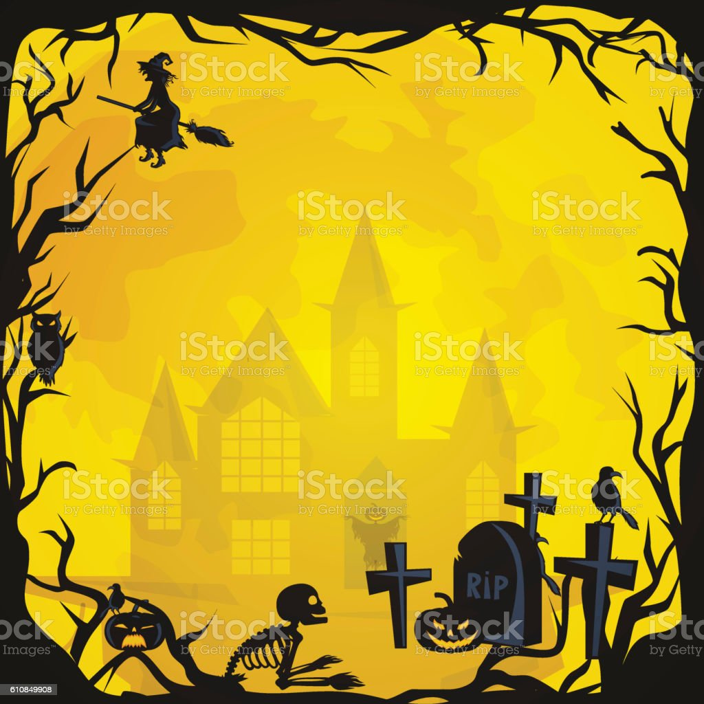 Halloween background. Horror forest with woods, spooky tree, pumpkins and vector art illustration