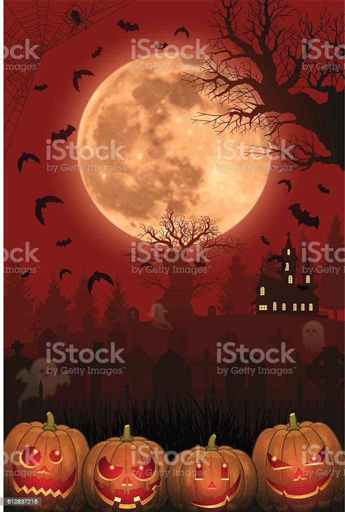 Halloween background [Jack o' Lantern and Full moon] vector art illustration