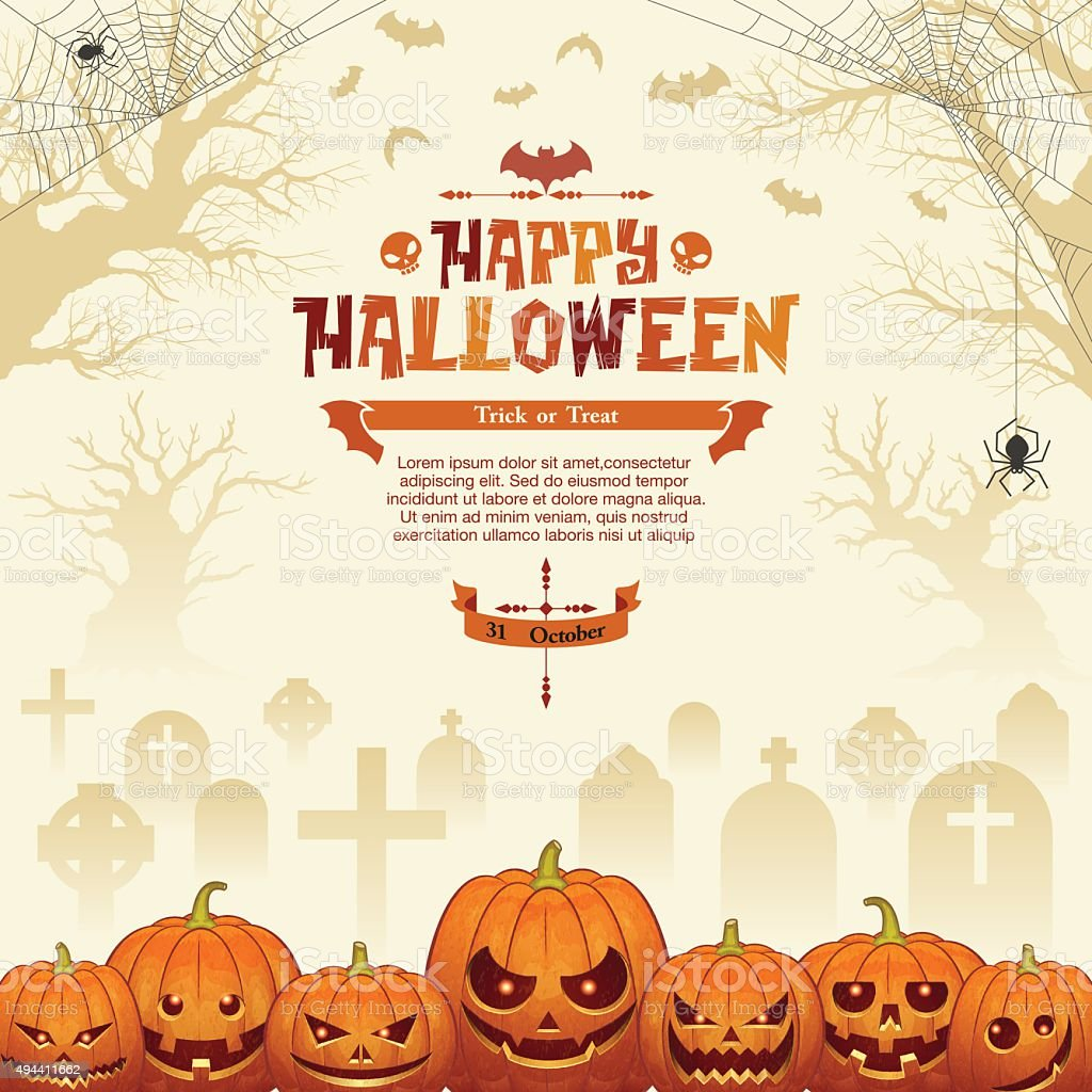 Halloween background [Jack o' lantern in the graveyard] vector art illustration