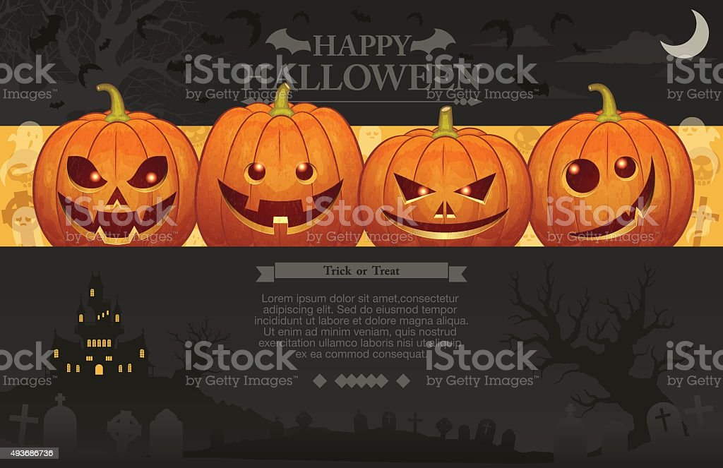 Halloween background [Jack o' Lantern] vector art illustration