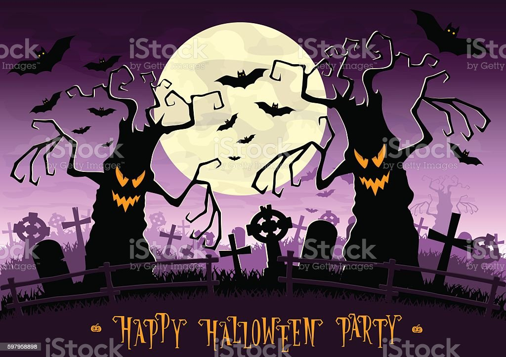 Halloween background. Scary monsters trees on old cemetery backdrop moon vector art illustration