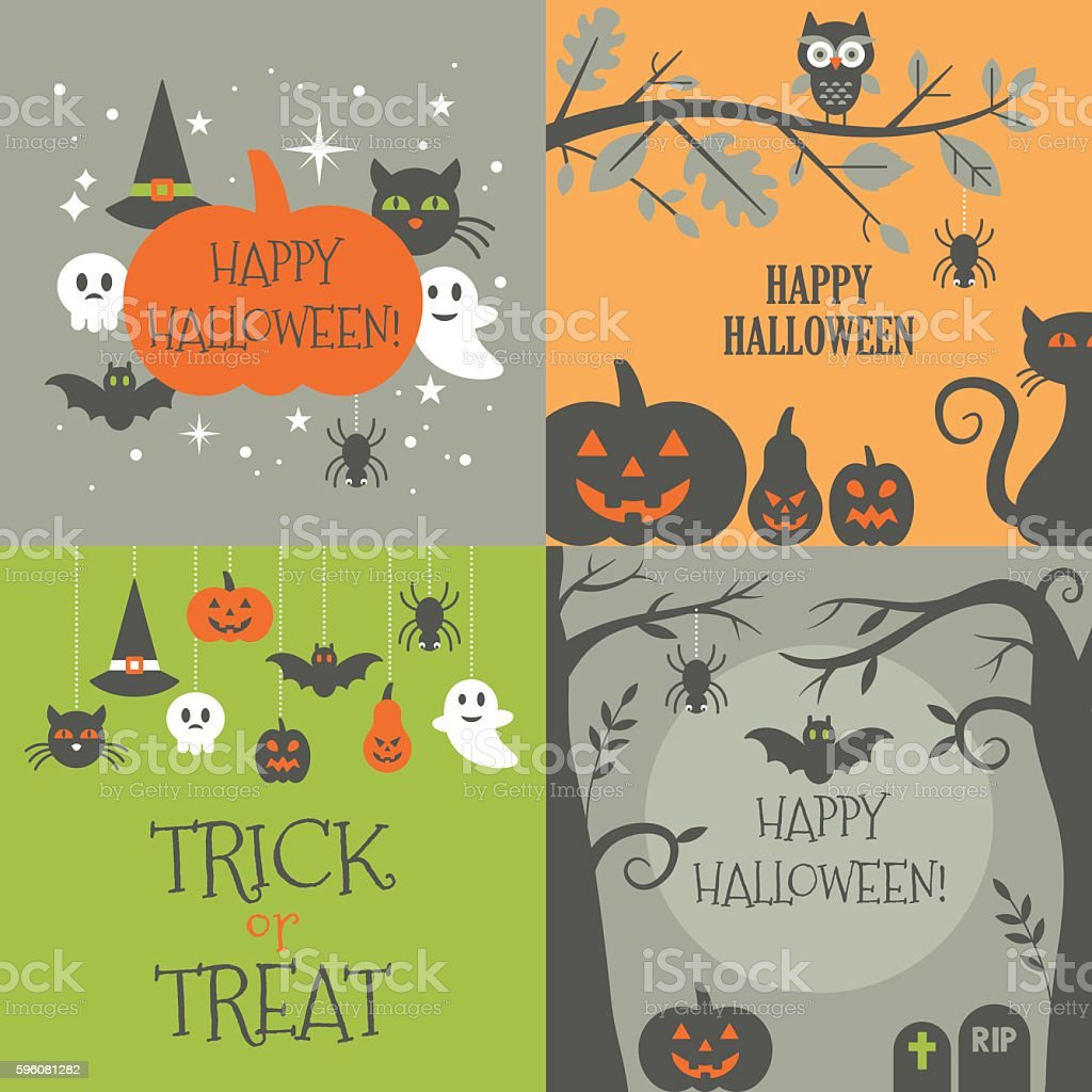 Halloween background set with decorative elements for graphic vector art illustration