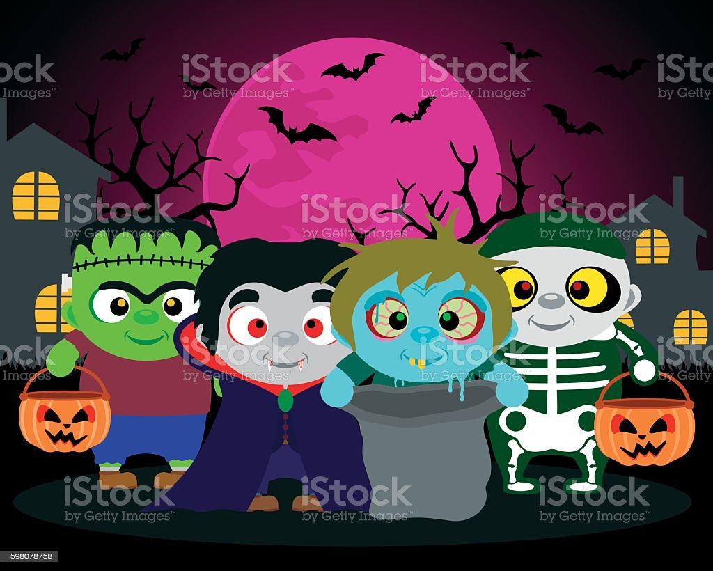 Halloween background  trick or treat with kids vector art illustration