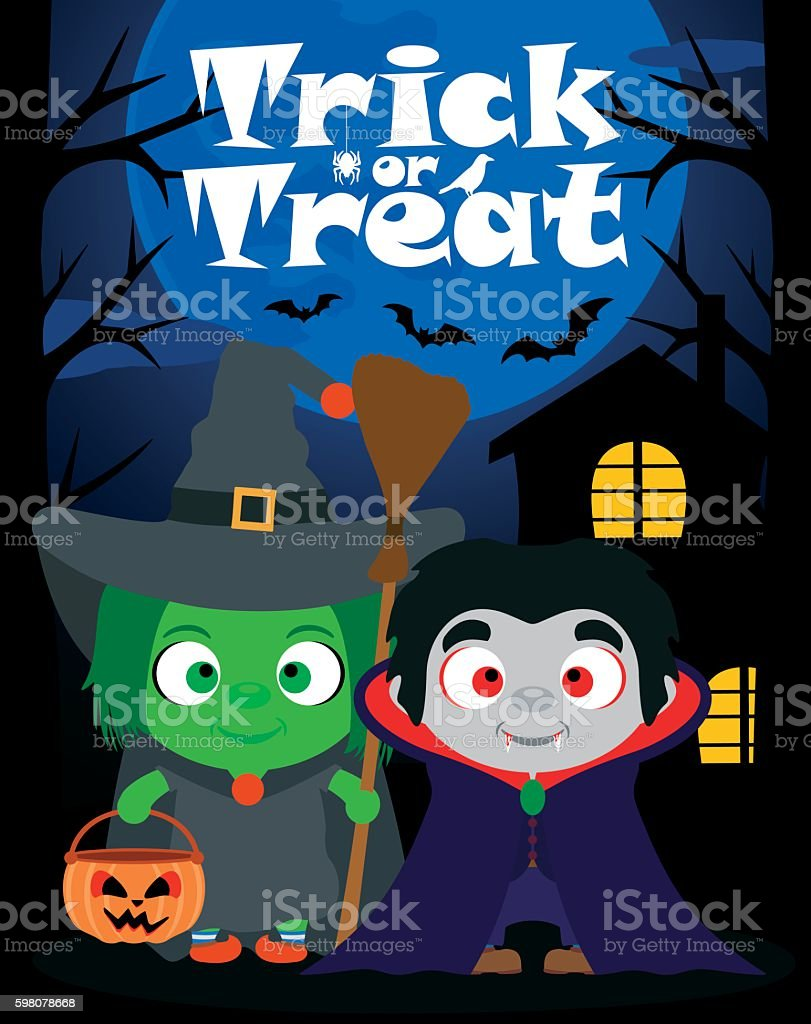 Halloween background trick or treating with children, vector vector art illustration