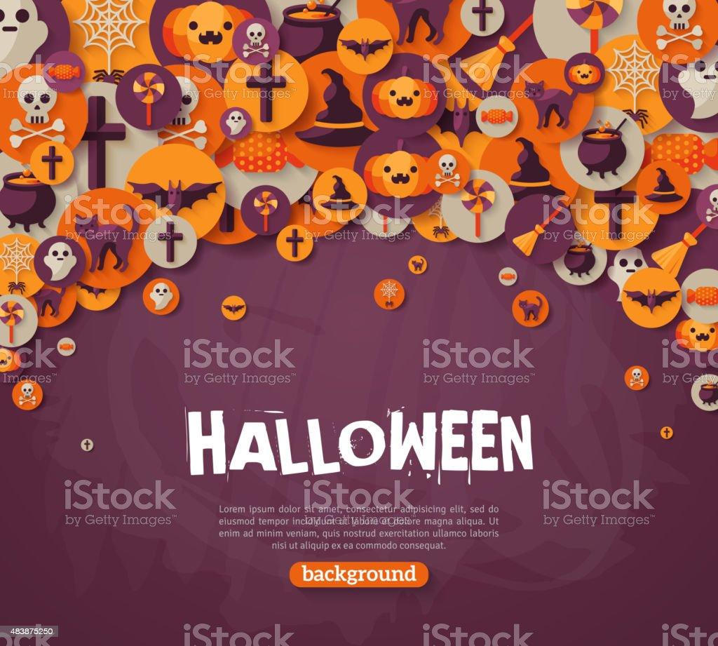 Halloween Background. Vector Illustration. Flat Halloween Icons vector art illustration